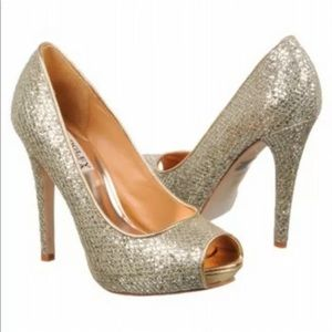 Badgley Mischka sz 9 gold silver peep toe heels